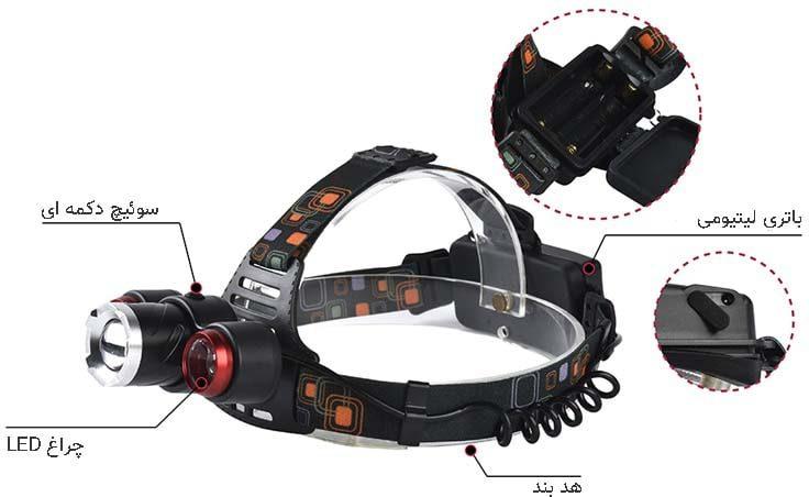 چراغ پیشانی Headlight مدل QX117
