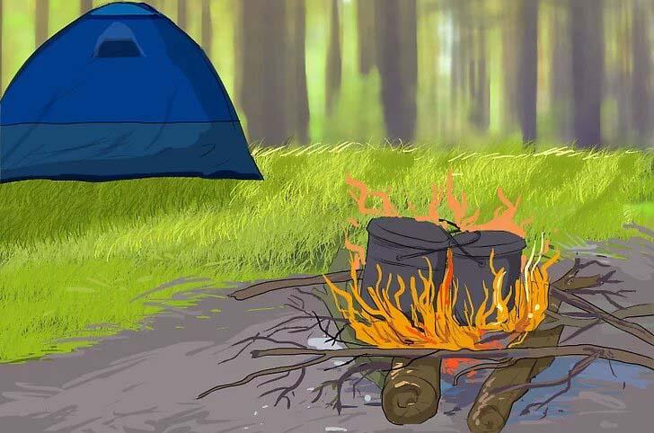 آتش در خارج از چادر